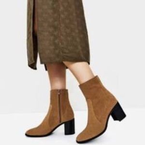 Zara Suede Side Zip Block Heel Booties